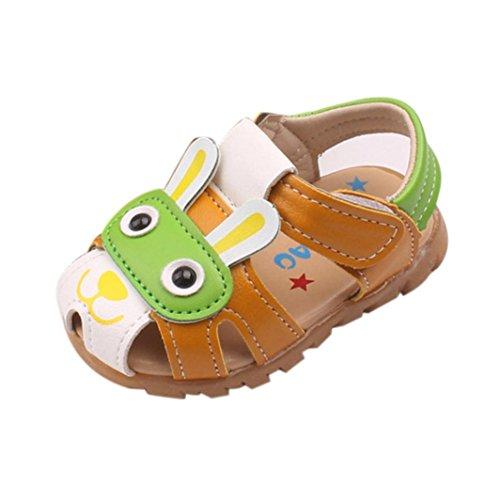 Baby Schuhe mit Licht, FNKDOR Jungen Kinder Sandale rutschfest Lauflernschuhe mit Licht in der Ferse, 0-5 Jahre (15(00-06 Monate), Grün)