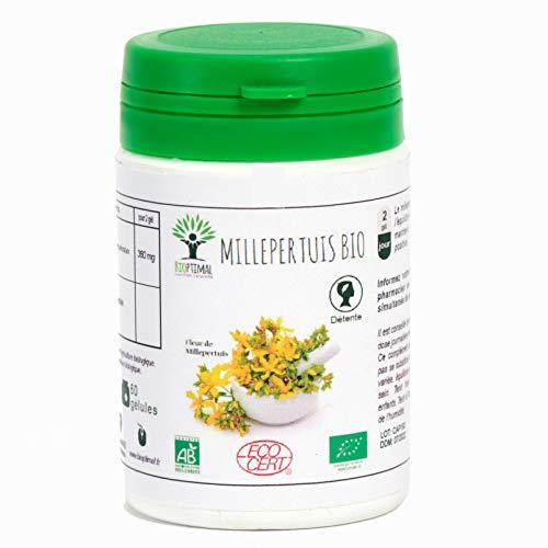 Millepertuis - Bioptimal - Complément Alimentaire - Millepertuis bio - Cure 1 mois - Fabriqué en France - Certifié par Ecocert (60 gélules)