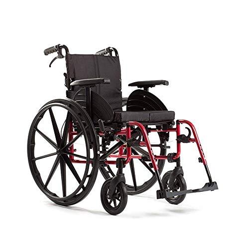 Living Equipment Silla de rehabilitación médica Silla de ruedas Sillas de ruedas deportivas 15Kg Portátil Plegable Cómodo Reposabrazos Respaldo Asiento Columpio Reposapiernas 100Kg Soporte de carga