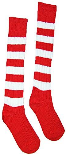 Ringelstrümpfe Rot Weiß - Ringelsocken Kniestrümpfe zum Clown, Zwerg oder Wichtel Kostüm