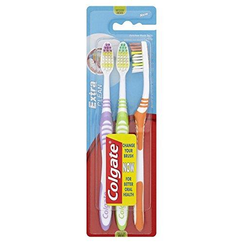Colgate Zahnbürste Extra Clean medium 2 mit 1 gratis (1 Packung - 3 Stück), sortiert
