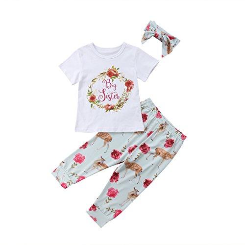 WangsCanis Bébé Fille Petite Grande Soeur Ensemble Cerf Fleur Imprimé Haut +Pantalons +Bandeau (Big Sister, 2-3 Ans)