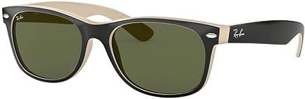 35d3ff6d1ce Ray-Ban RB2132 New Wayfarer Sunglasses Shiny Black Beige (875) RB 2132