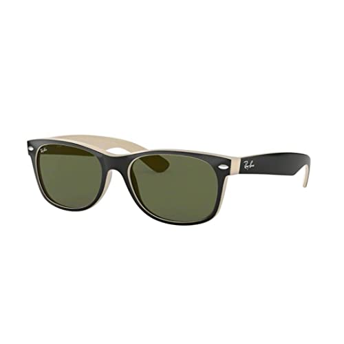 b5220d3bf96c Ray-Ban RB2132 New Wayfarer Sunglasses Shiny Black Beige (875) RB 2132