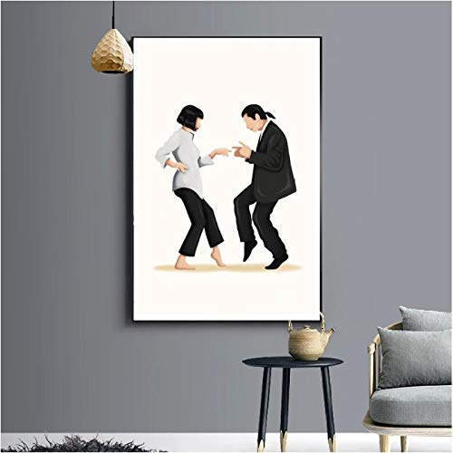 Jwqing Pulp Fiction Dance Poster Kunstdruck Klassisches Filmplakat Abstrakte minimalistische Wandkunst Leinwand Malerei Wandbild Wohnkultur (50x70cm ohne Rahmen)