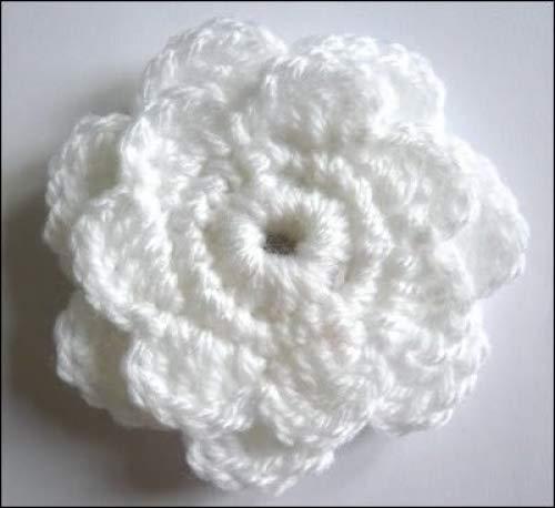 Häkel-Blume Brosche/Corsage Weiß 8cm