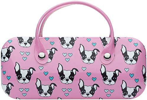 Pink Eyeglasses case with handle sunglasses case glass case Boston Terrier dog bag case sunglasses product image
