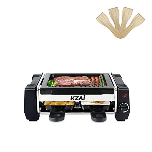 Raclette 2 Personen Mini Raclette Grill, Antihaftbeschichtung, Einfach zu Säubern, Für 1 bis 2 Personen, 2 Pfännchen und 2 Spatel, 500W Schwarz