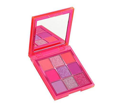 Huda Beauty Neon Obsessions Eyeshadow Palette! Highly Pigmented 9 Shades! Mattes, Creamy Metallics And Shimmers Eye Shadow! Smooth And Blendable Texture! Choose From Orange, Pink Or Green! (Pink)