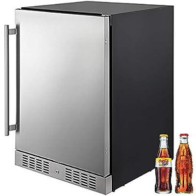 VBENLEM 24''Built-in Stainless Steel Beverage Cooler 5.5 cu.ft. Soda & Beer Small Reversible Door Refrigerator 142 Can Fridge for Home Bar Office Commercial Indoor Use (150L,Black & Silver)