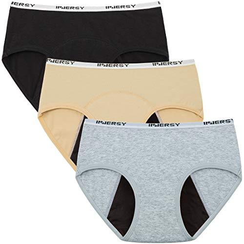 Innersy Big Girls' Panties Menstrual Period Panties Protective Cotton Hipster Panties Underwear 3-Pack (X-Large(hip:34-35.5'), Basics)