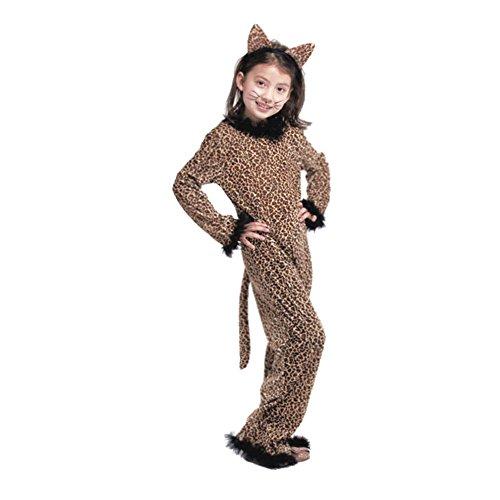 YFCH Traje de Disfraz Animal para Niños Niñas Pijama de Una Pieza con Capucha para Festival de Carnaval Halloween Navidad, Leopardo, XL/Altura: 125-140cm