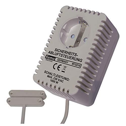 Kemo FG016 Abluftsteuerung. Max. anschließbarer verbraucher 230 V/AC, 1600 W. Mit Magnetsensor. Stecker zwischen Steckdose und Stecker Dunstabzugshaube