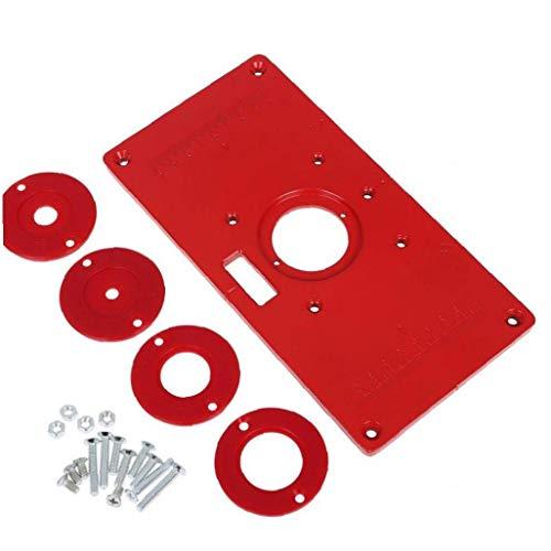 Router Tabelle Einlegeplatte Holzbearbeitung Aluminium DIY Trimming-Maschine Flip Brettwerkzeug-Zubehör Red 235mm x 120mm x 8mm Handwerkzeuge Operated