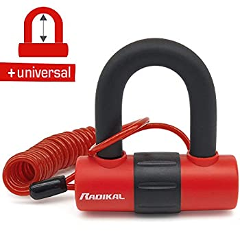 RADIKAL RK72 Cadenas antivol Moto Mini U ø14 Double Fonction pour Disque ou chaîne, câble de Rappel