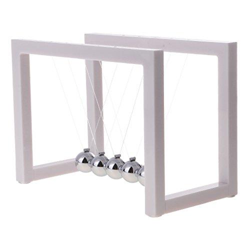 Dovewill Geometry Acrylic Newton's Cradle Steel Balance Ball Pendulum Physics Science Desk Gadget Toy -White