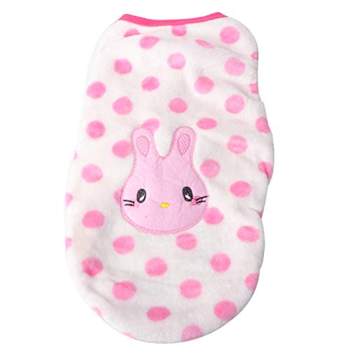 POPETPOP Winter Cartoon Puppy Vest Clothing Warm Flannel Dog Clothes for Small Dogs Chihuahua French Bulldog Outfit Pet Cat T Shirt - Size XL (Rabbit)