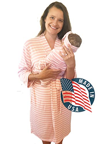 Aspen Lane Maternity Labor Delivery Matching Robe and Swaddle Blanket and Hat or Headband Set, Hospital Bag Must Have (Blush Pink, L/XL)