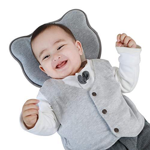 Almohada infantil con funda de almohada para bebé, lavable y transpirable, accesorio para recién nacidos (mezcla gris)