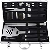 grilljoy 20PCS BBQ Grill Tools Set - Extra Thick Stainless Steel Fork, Spatula, Tongs& Cleaning Brush - Complete Barbecue Grilling Utensils Set in Aluminum Storage Case - Perfect Grilling Set Gift