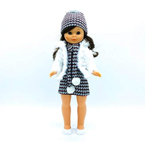Folk Artesanía Vestido, complementos, Zapatos Percha para muñeca Nancy clásica Famosa. Fabricado en España Muñeca no incluida en el Lote. Mod 21-01N (Conjunto Ropa Incluido Abrigo de Piel)