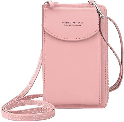 Ecosway Geldbörse für Damen, große Kartenfächer, Handtasche, einfarbig, diagonale Tasche, Multifunktions-Clutch mit Reißverschlusstasche, rose (Pink) - EB020200506A