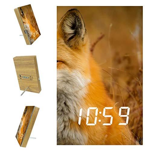 nakw88 Fox Closeup Nature - Reloj despertador digital para dormitorio, con puerto USB para cargar, oficina y decoración del hogar