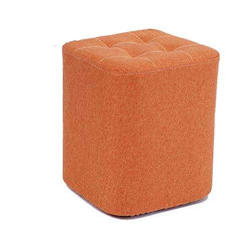 stool Sofá de color sólido para el hogar de algodón y lino, pequeño y creativo banco pequeño para sala de estar, zapatos perezosos (color: naranja, tamaño: L)
