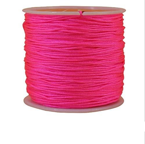 CHENGTAO 1 Rollo 45M X 0,8 Mm con Cuerdas De Nylon For Macrame Collar De La Pulsera De La Cuerda Trenzada Borlas De Hilo De Alambre De Cuerda De Seda (Color : Hot Pink)
