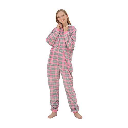 BIXUYAO Erwachsenen-Strampler Für Frauen/Einteiliger Pyjama Front Zip Overall Erwachsenen Mit Kapuze Fleece-Overall,Rot,M