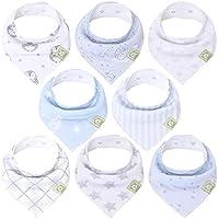 8-Pack KeaBabies Organic Baby Bandana Drool Bibs