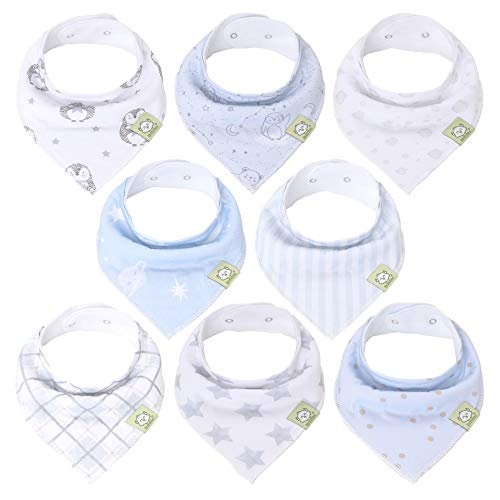 Organic Baby Bandana Drool Bibs - Bandana Bibs for Boys, Girls by KeaBabies- Super Absorbent Bandana Drool Bibs - Teething Bibs - Organic Cotton Baby Bibs for Infant, Toddler - 8 Pack (Constellation)