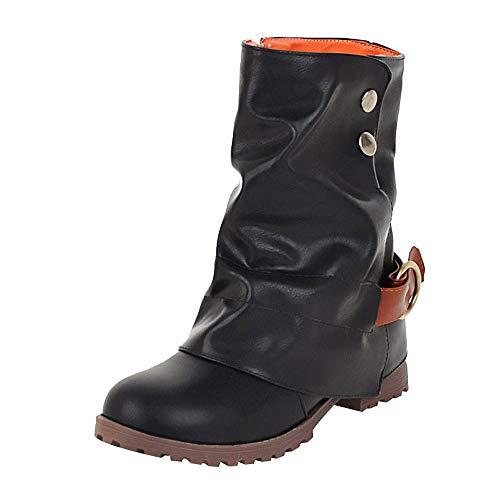 Clearance Sale ODRD Sandalen Shoes Mode Warme Kurze Leder Stiefel Frauen Schnalle Kunstleder Patchwork Schuhe Einzelne Schuhe Strandschuhe Plateauschuhe Freizeitschuhe Turnschuhe Hausschuhe