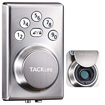 TACKLIFE Fingerprint Door Lock Keypad Deadbolt Lock with Fingerprint Keyless Entry Biometric Door Lock Satin Nickel EKPZ1A