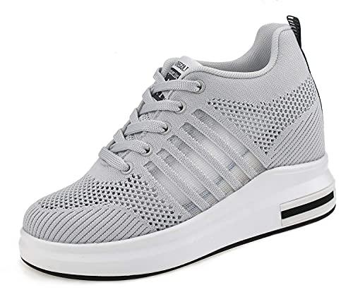 AONEGOLD Zapatillas de Cuña Deportivas para Mujer de Moda Deporte Zapato Transpirables Altas Primavera/Verano Tacón Sneakers 8.5CM (Gris 39 EU)