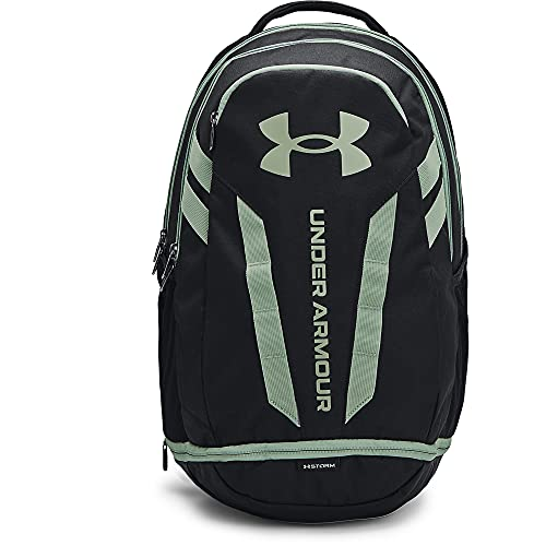 Under Armour Adult Hustle 5.0 Backpack , Black (011)/Silica Green , One Size Fits All