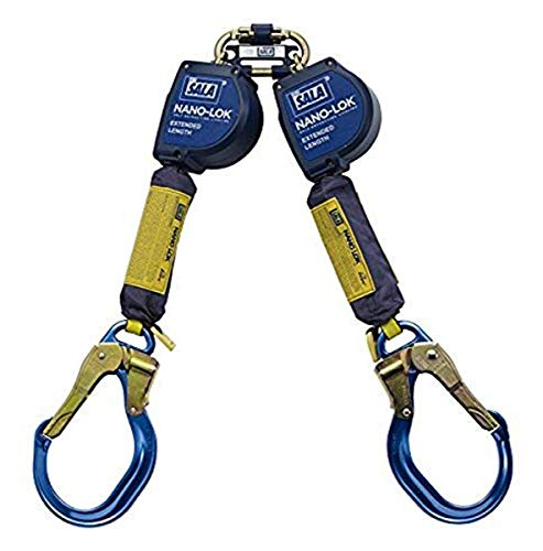 3M DBI-SALA Nano-Lok Extended 3101624 Fall Arrest Safety Clip 9-' Extended Length and 100 Percent Tie-Off, Quick Connector Harness Mounting and Lkg Nose Alum Rebar End