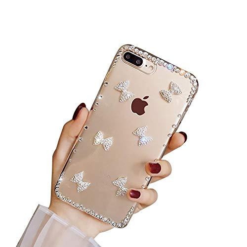 LCHDA Strass Hülle für Samsung Galaxy A71 Bling Glitzer Diamant Glänzende Klar Kristall Steine Weich TPU Silikon Stoßstange Transparent Schlank Hart Plastik Schutzhülle - Bogenknoten