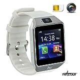 Touch Screen Smart Reloj Smartwatch con funciones de teléfono móvil Bluetooth Fitness Dormir Monitor Audio Play Facebook dz09Color Blanco