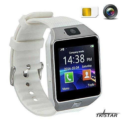 TKSTAR Touch Screen Smart Uhr Smart Watch mit Handy Funktionen Bluetooth Fitness Schlaf Monitor Audio Play Facebook DZ09 Wei?