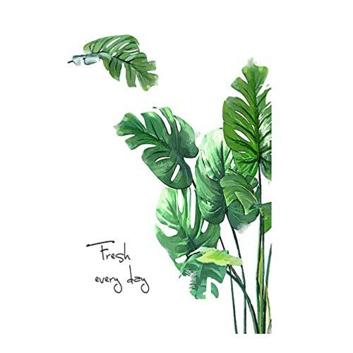 FOMIYES 1 pegatina de pared con hojas tropicales verdes, hojas de palmera, hojas de plátano, arte mural, para decoración tropical hawaiana luau