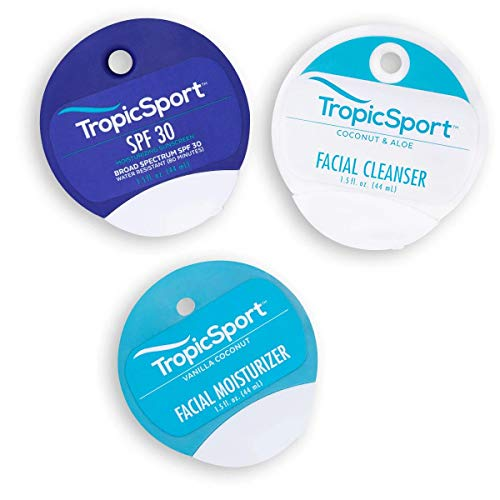 TropicSport Mineral Sunscreen Lotion SPF 30, Reef Friendly, Water Resistant, Broad Spectrum, Natural Organic, Kids and Family Friendly, Travel Pack (Sunscreen, Moisturizer, and Cleanser)