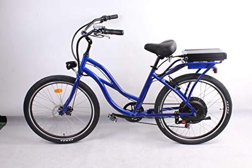 móvil 500W 48V 10.4AH Bicicleta eléctrica 26'x2.125 Bike Cruiser 7 Speed Shimano Desviador Snow Beach eBike Bicicleta Sistema de Freno...