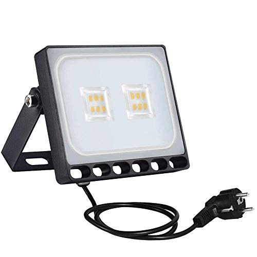 Sararoom 10W Proyector LED exteriores,IP65 Impermeable Floodlight,Foco Proyector LED Ultra Plano con enchufe,1000LM,Blanco cálido,3200K,para jardín,fábrica,estadio