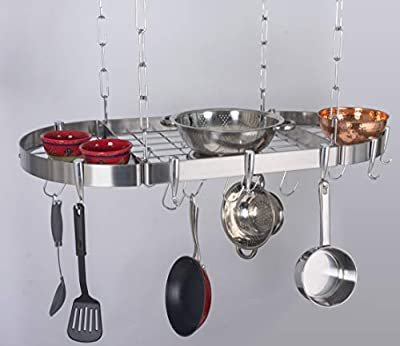 "Concept Housewares Hanging Pot Rack, 38"", Silver from Concept Housewares™"