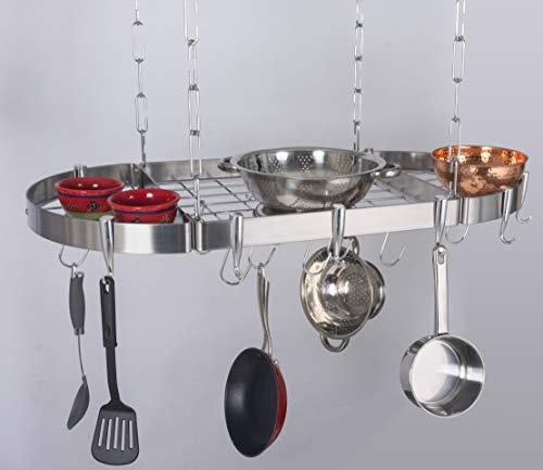 Concept Housewares PR40901 Hanging Pot Rack 38quot Silver