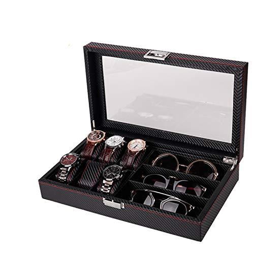 Keliour Caja de almacenamiento para reloj, 12 cajas de reloj de doble capa para gafas de sol, caja de almacenamiento de piel sintética (color: negro, tamaño: talla única)