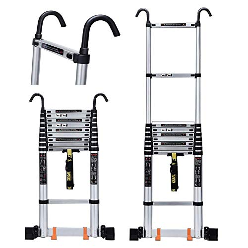 QMFYJ Ladders,Telescopic Ladder,Aluminum Telescopic Extension Ladder with Hook, Pulley and Lengthen Stabiliser Bar - for Indoors and Outdoors - Suggests 150 Kg,5.5M/18.04Ft,5.5M/18.04Ft
