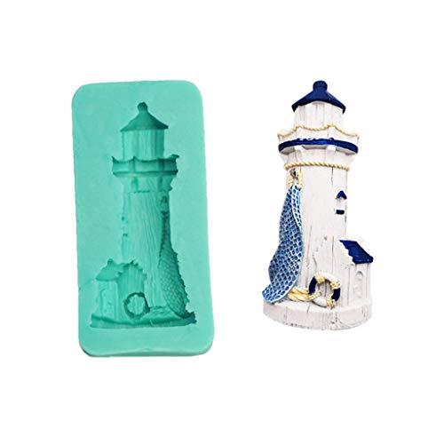 Molde para hacer velas 3D Lighthouse DIY Casero Fondant Cake Bakeware Bandeja Azúcar Chocolate Muffin Molde para hornear Cocina Masa Decoración Herramienta 1