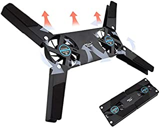 DZSF Vridbar USB-fläkt kylplatta 2 fläktar kylare, bärbar dator USB-fläktstativ för 20-35 cm PC bärbar dator